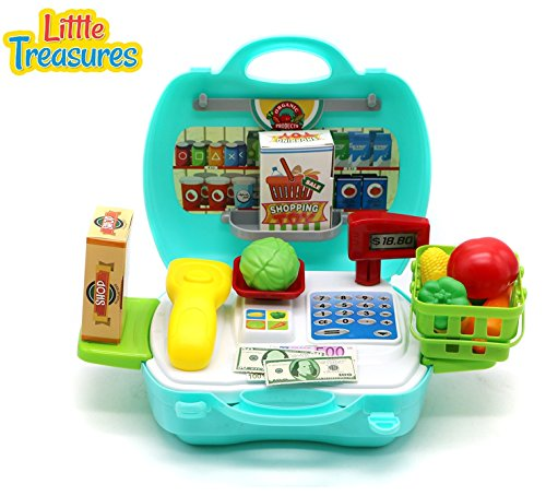 Little Treasures Travel Grocery 19 pcs Play Set with Pretend Play Toy Money and Food Featuring Carry Basket and Detachable Sides and Scale