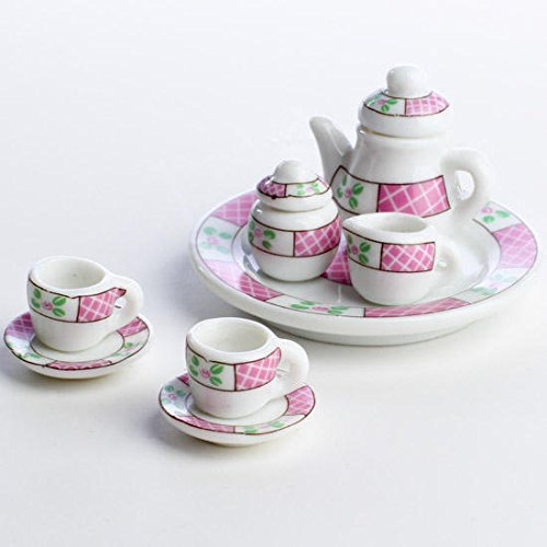 10 Piece Miniature Size Ceramic Pink and Green Floral Tea Party Set
