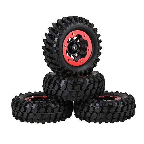 Mxfans RC 110 Rock Crawler Car Black Gravel Pattern Rubber Tire Black Plastic 10 Holes Wheel Rim with Red Alloy Beadlock Pack of 4