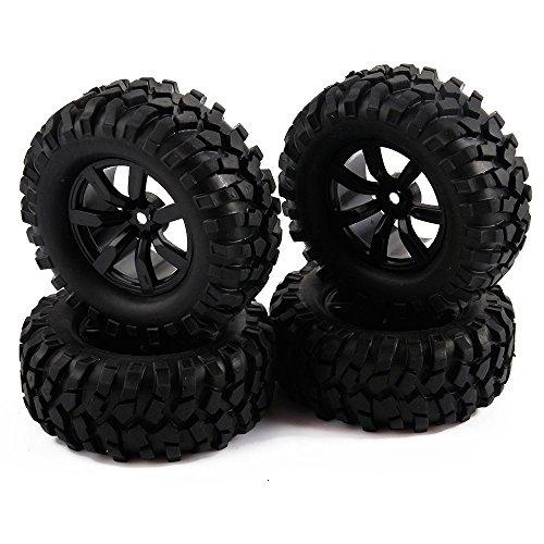 Yiguo RC 110 Rock Crawler Car 7 Spoke 12mm Hex Hub Wheel Rim and Gravel Pattern 96mm Tires Set of 4