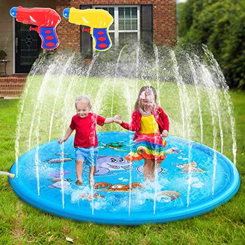 MIBOTE 68 Sprinkler Pad Splash Play Mat for Kids Toddler Sprinkler Water Toys Inflatable Outdoor Swimming Pool Toy for Boys Girls Includes 2 PCs Mini Water Gun