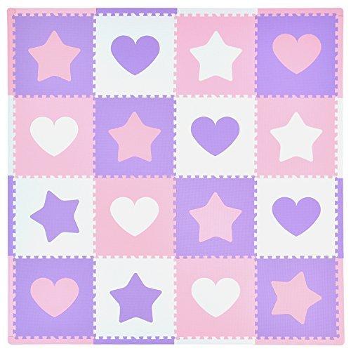 Tadpoles 16 Sq Ft Hearts and Stars Playmat Set PinkPurpleWhite by Tadpoles