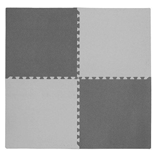 Tadpoles 4 Piece Squares Playmat Set Light GrayDark Gray 24 by Tadpoles