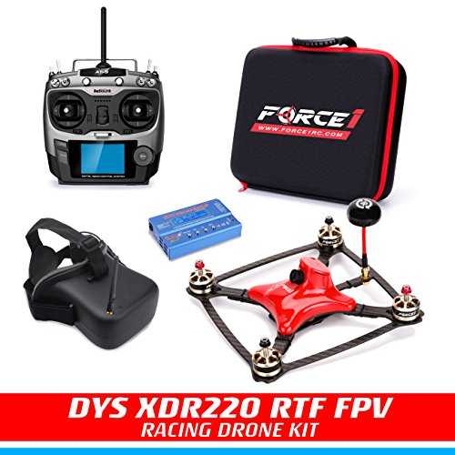 FPV Drone Racing Kit - DYS XDR220 RTF FPV Racing Drone  RC Quadcopter with HD CCD Camera Carbon Fiber Frame SP F3 Flight Controller  Radiolink AT-9 Transmitter  FPV Goggles  Balance Charger