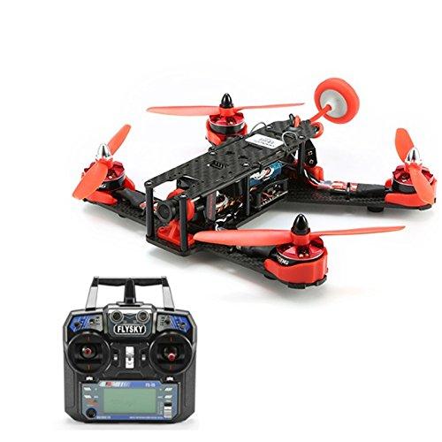Qwinout 210GT 210mm Mini Quadcopter FPV Racing Drone RTF Combo Full Set with CC3D Flight Control CCD Camera Mushroom Antenna 600mW VTX Flysky FS-I6 Remote - Red