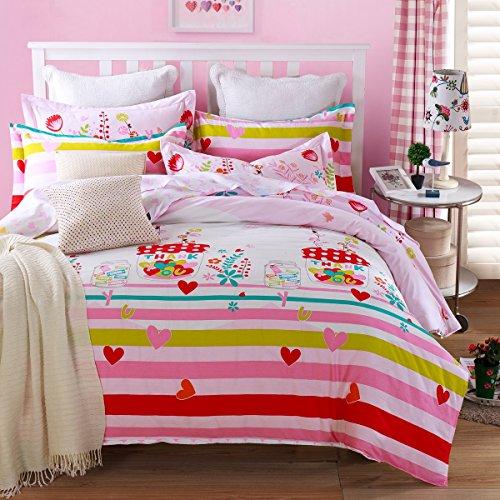CASA 100 Cotton Bedding Romantic Girl Duvet Cover Set Flat sheet4 PieceQueen