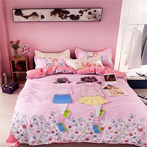 TheFit Paisley Textile Bedding for Adult U460 Little Pink Girl Duvet Cover Set 100 Cotton Queen Set 4 Piece