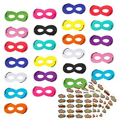 Superhero Masks Superhero Party Mask 24Pcs Mask for Kids with 100 Stickers