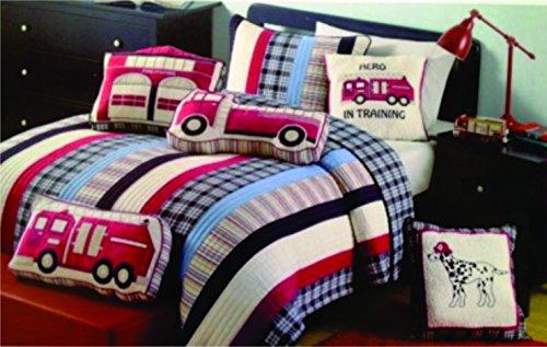 Charles Street Kids 3 Piece Ryan Fire Truck FullQueen Quilt Set - RedNavyBlueTanWhite Striped Plaid