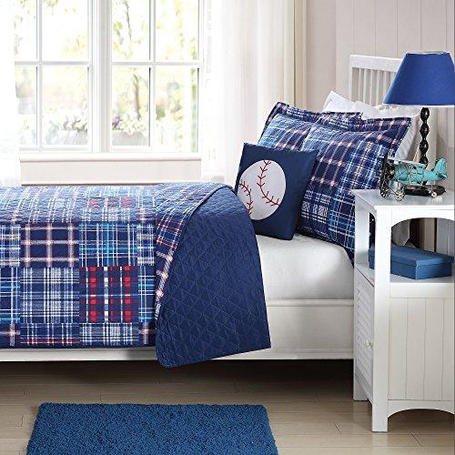 Laura Hart Kids Quilt Mini Set with BONUS Decorative Pillow Navy Plaid Patch Twin