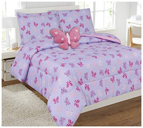 8 Piece Full Size Girls Comforter Set Bed in Bag wShams Sheet Set Decorative Toy Pillow Butterfly Print Lavender Pink Girls Kids Comforter Bedding Set wSheetsFull 8pc Butterfly Pink Lavender