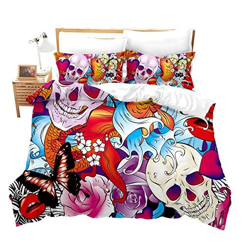 Fish Butterfly Comforter Cover Queen Size for Boys Teens Men Skeleton Horror Bedding Set Stylish Decor Skull Rose Flowers Duvet Cover Set with 2 Pillowcases Gift Purposeful Microfiber Zipper Novely