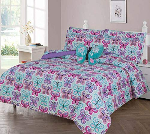 GorgeousHomeLinen Boys Girls Teens Twin 6PC Comforter Bedding Set with Matching Sheets and Small Decorative Pillow Bed Dressing for Kids Butterfly Blue