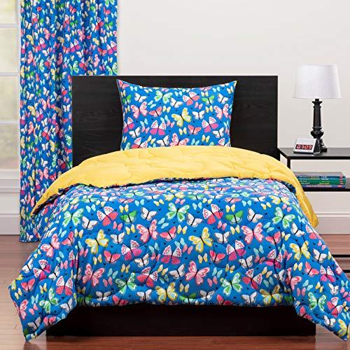 MISC 2 Piece Blue Yellow Pink Butterfly Comforter Twin Set Butterflies Bedding Butter Flies Fluttering Hearts Themed Pattern Microfiber