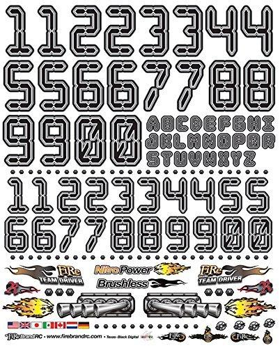 FireBrand RC • Decal Sheet NUMB3RS Digital BLACK