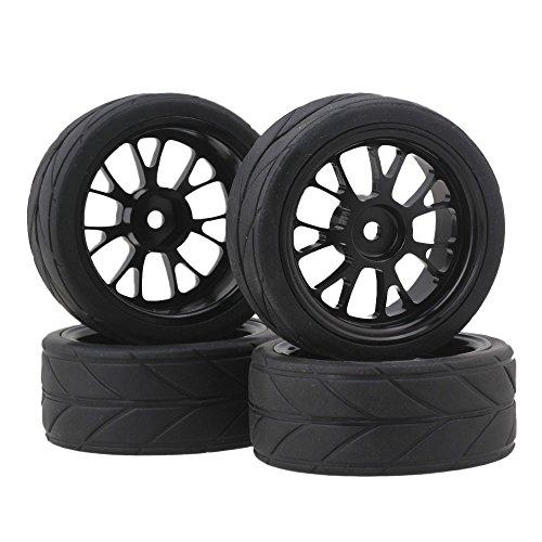 BQLZR Y Shape Hub Wheel Rim&Tires HSP 110 On-Road RC Flat Racing Car 20106 Pack of 4