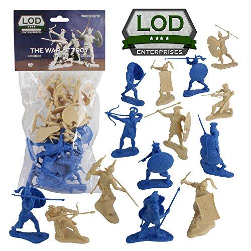 LOD Trojan War GREEKS vs TROJANS Soldiers 16 BLUE TAN 130 Plastic Figures