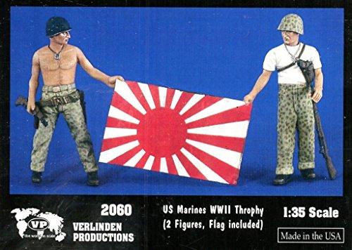 Verlinden 135 US Marines WWII Throphy w Flag - 2 Resin Figures Kit 2060