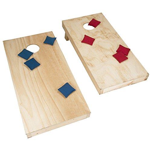 Deluxe Regulation Size Wood Cornhole Bean Bag Toss Game Set - Includes Bonus Mini Cornhole Tabletop Game