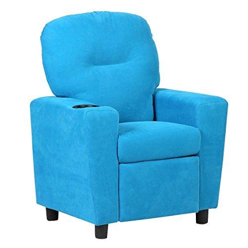 Kids Sofa Armrest Chair Contemporary Microfiber Kids Recliner Children Living Room Toddler Furniture Blue