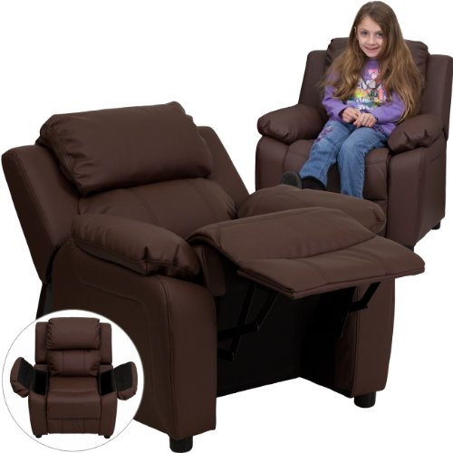 My Friendly Office MFO Deluxe Padded Contemporary Brown Leather Kids Recliner with Storage Arms