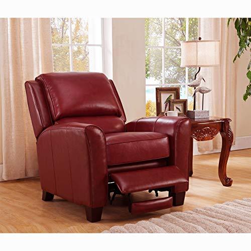 SOFAWEBCOM Carnegie Crimson Red Premium Top Grain Leather Recliner Chair