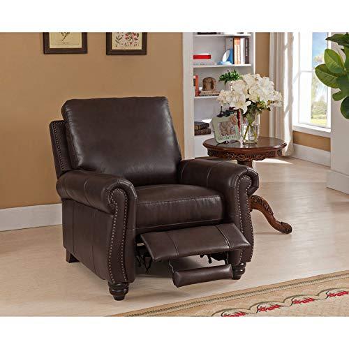 SOFAWEBCOM Fulton Brown Premium Top Grain Leather Recliner Chair
