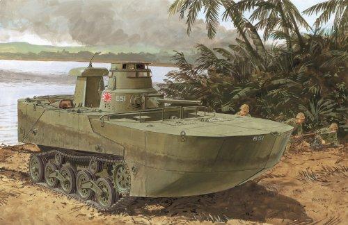 Dragon Models IJN Type 2 Amphibious Tank Ka-Mi with Floating PontoonL Model Building Kit 172 Scale