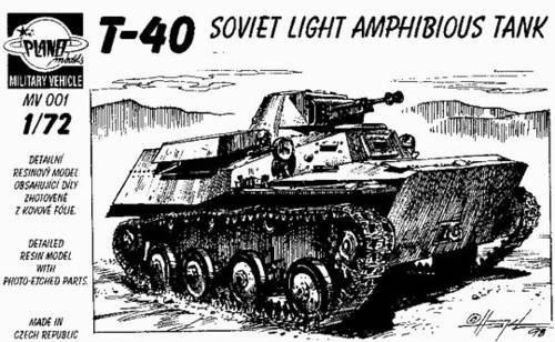 Planet Models 172 WWII T-40 Soviet Light Amphibious Tank Resin Full Kit MV001