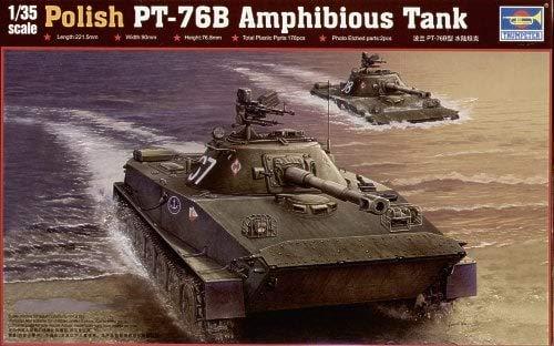 Trumpeter 135 Scale Polish PT-76B Amphibious Tank Plastic Tank Model Kit  00382