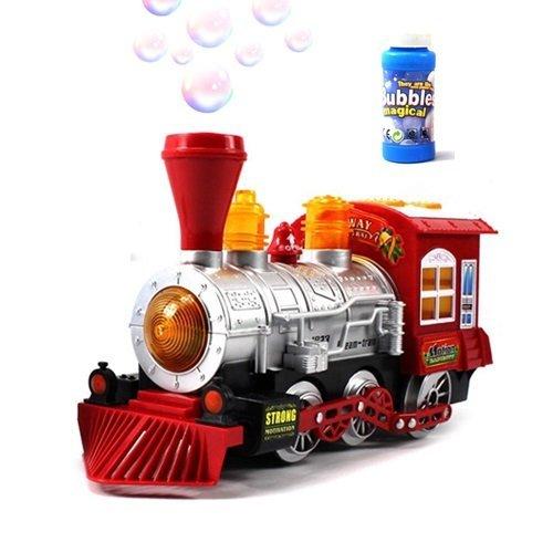 Lokky Steam Train Locomotive Engine Car Bubble Blowing Bump Go Train