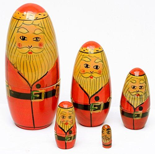 Nested Doll 5 Pc Santa Claus Painted Wood Set India Folk Craft Decor Gift Curio