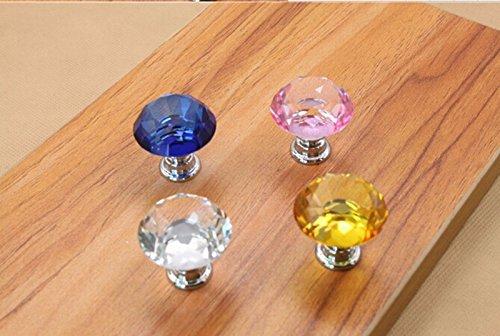 ETGtek 3pcs 30mm Diamond Shape Crystal Glass Cabinet Knob Cupboard Drawer Pull Handle Door Drawer Knob