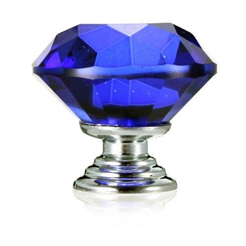 Tecrio 40mm Blue Crystal Glass Diamond Shape Cabinet Knob Drawer Cupboard Pull Handle 10pcs-Pack