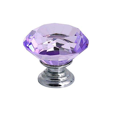 Tecrio 40mm Clear Purple Crystal Glass Diamond Shape Cabinet Knob Drawer Cupboard Pull Handle 10pcs-Pack