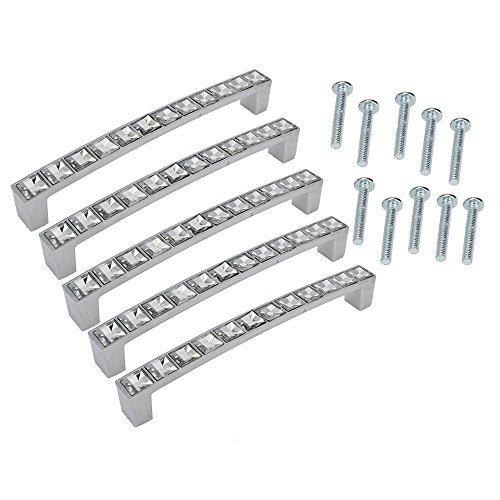 abcGoodefg 4 inch Fancy Clear Glass Bar Cabinet Knobs Dresser Drawer Handles Pulls Set5pc 96MM by abcGoodefg