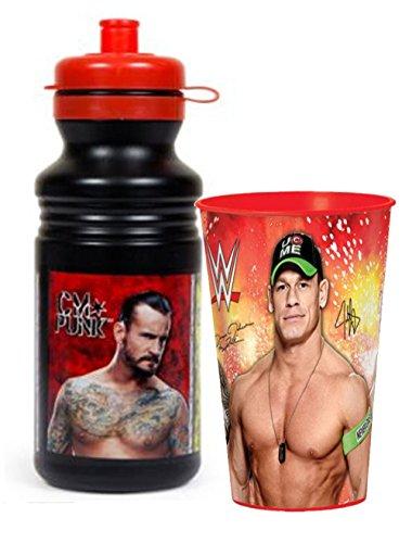 WWE World Wrestling Entertainment Kids 18oz Plastic Pull Top Water Bottle Plus Bonus WWE 16oz Plastic Cup