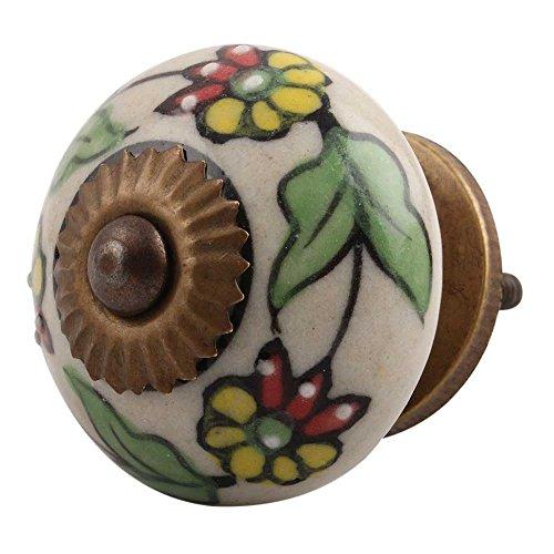 IndianShelf Handmade 20 Piece Ceramic Multicolor Leaf Flower Artistic Rust Free Dresser Knobs Cabinet Pulls Kitchen Handle