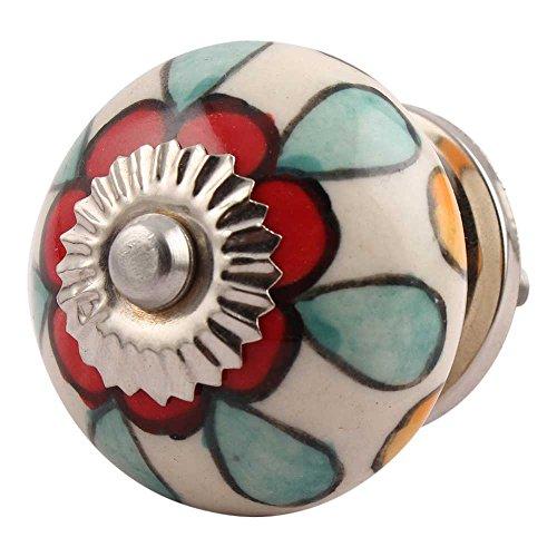 IndianShelf Handmade 4 Piece Ceramic Multicolor Flower Artistic Rust Free Door Knob Vintage Pulls Handle Kitchen Handles