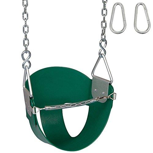 Swing Set Stuff High Back 12 Bucket Seat with Chains Hooks SSS Logo Sticker 1 Player Green