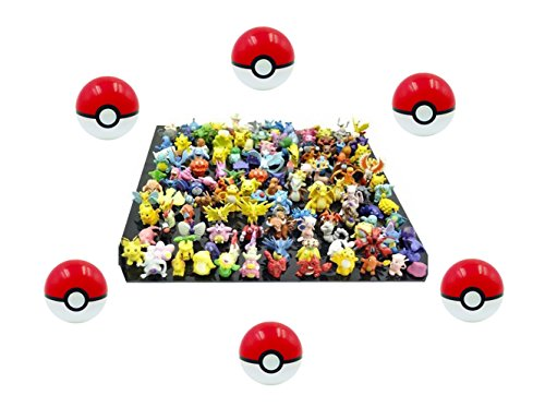 6 Pieces Plastic Super Anime Pokeball Pokemon Red Balls for Pokemon With 24 Pokemon Figures and Stickers In a Set