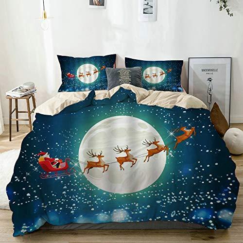 DAOPUDA Decorative Duvet CoverChristmas Santa Claus Reindeer Sled Snowflake Winter Full Moon Night CartoonSoft Brushed Microfiber Bedroom Hotel Dorm Bedding Set with 2 Pillow Shams Full80x90
