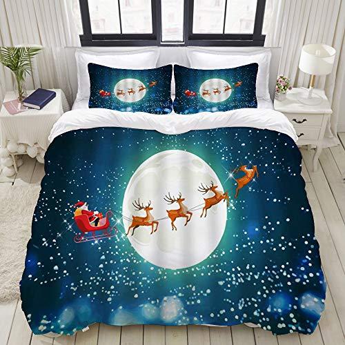 LIASDIVA Duvet CoverChristmas Santa Claus Reindeer Sled Snowflake Winter Full Moon Night CartoonBedding Set Ultra Comfy Lightweight Luxury Microfiber Sets 3pcs QueenFull Size 88 88