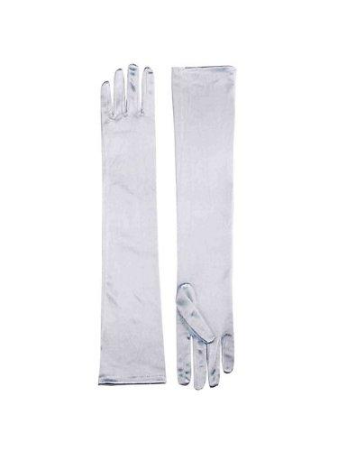 Long Satin Gloves White