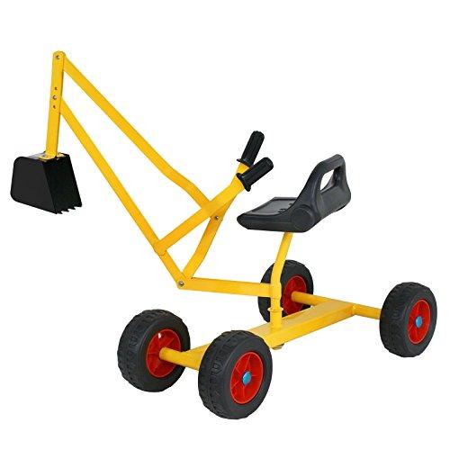 F2C Heavy Duty Steel 49x 15x 18 Big Sand Box Digger Toy with Wheels Kids Ride-on Working Crane Yellow Black