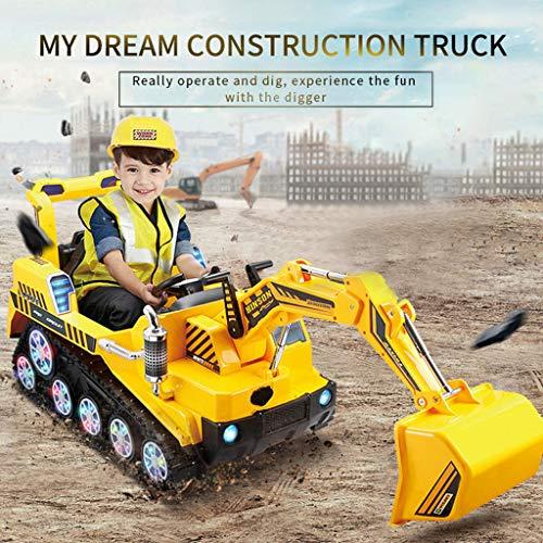 Transser- Kids Ride On Construction Excavator US Stock FD-2811 24G Bulldozer Shovel Digger Manned Dual Mode RC Excavator Car Children Pretend Play Truck Toy Yellow