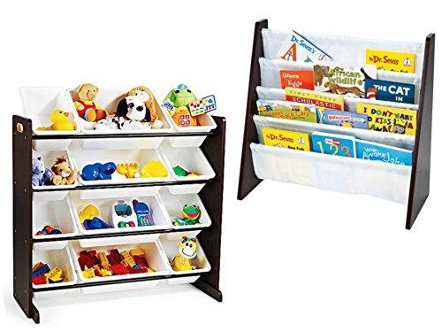 Tot Tutors Toy Organizer with 12-Piece Storage Bins and Tot Tutors Book Rack Espresso Bundle