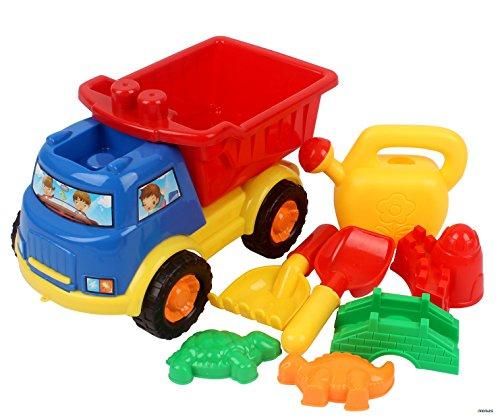 MemtesBeach Sand Toy Dump Truck Sand Mold Rake Shovel Turtle Dragon Included 8 Pieces Colors May Vary