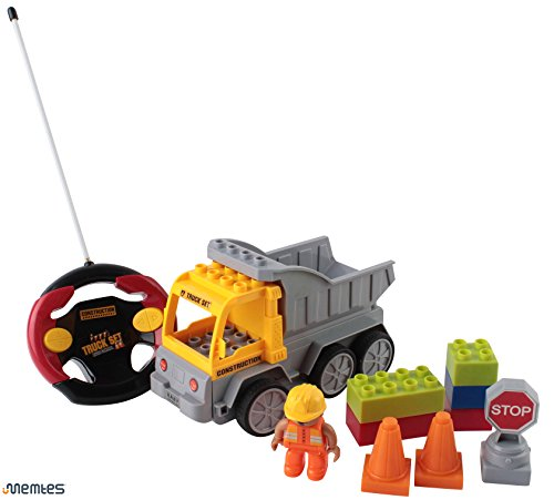 MemtesRemote Control Take A Part Dump Truck Toy with Lights Construction Man and Accessories