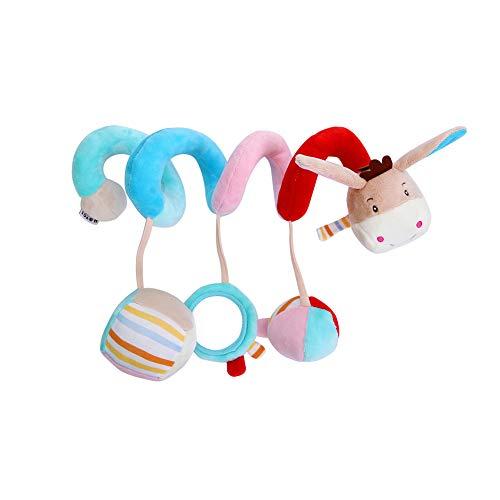 FAgdsyigao Baby Crib Toy Lovely Cartoon Spiral Shape Crib Wrap Decor Infant Baby Rattles Toy Donkey
